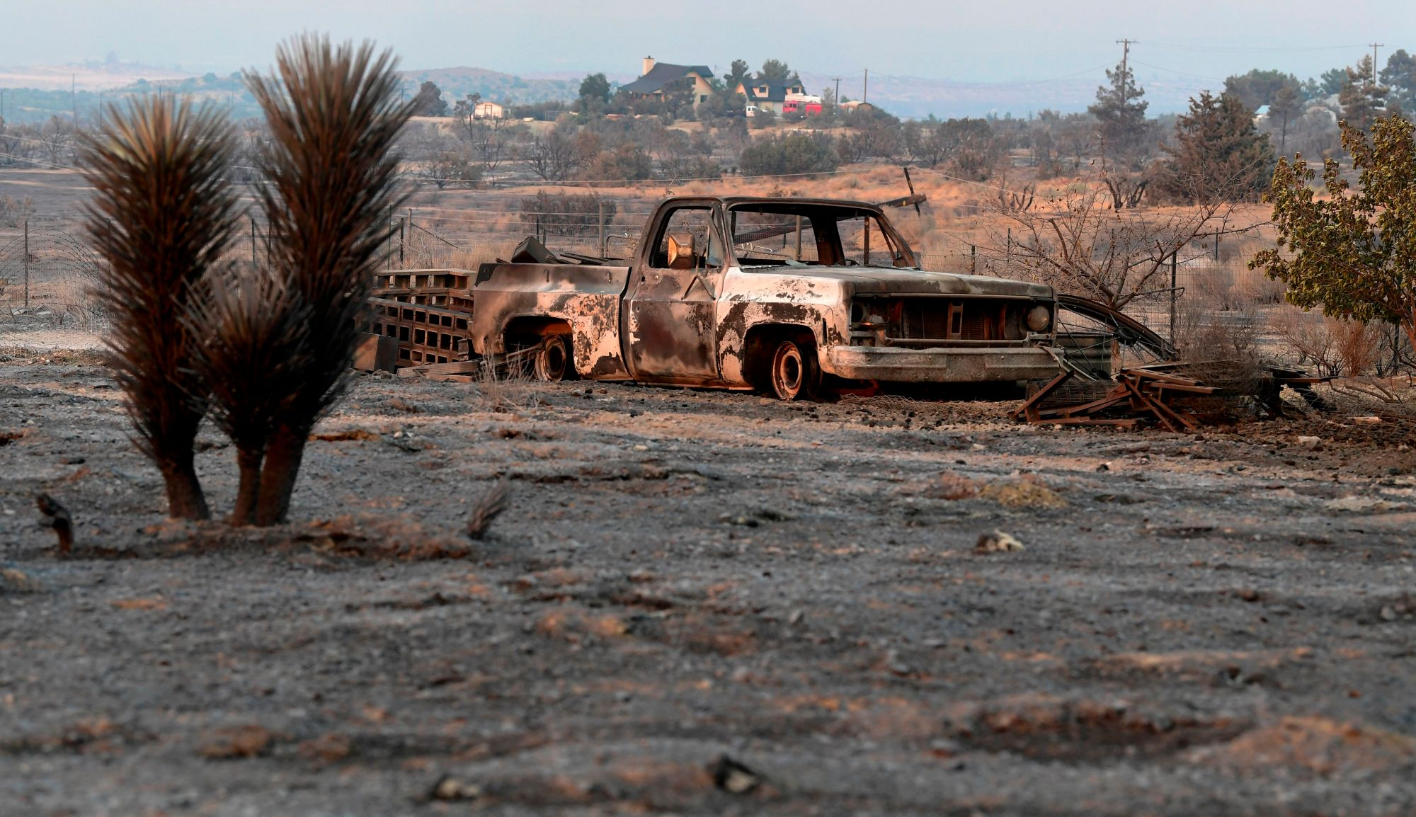 A scorched landscape from the Bobcat Fire in the community of Juniper Hills on Sept. 19, 2020. (FREDERIC J. BROWN/AFP via Getty Images)