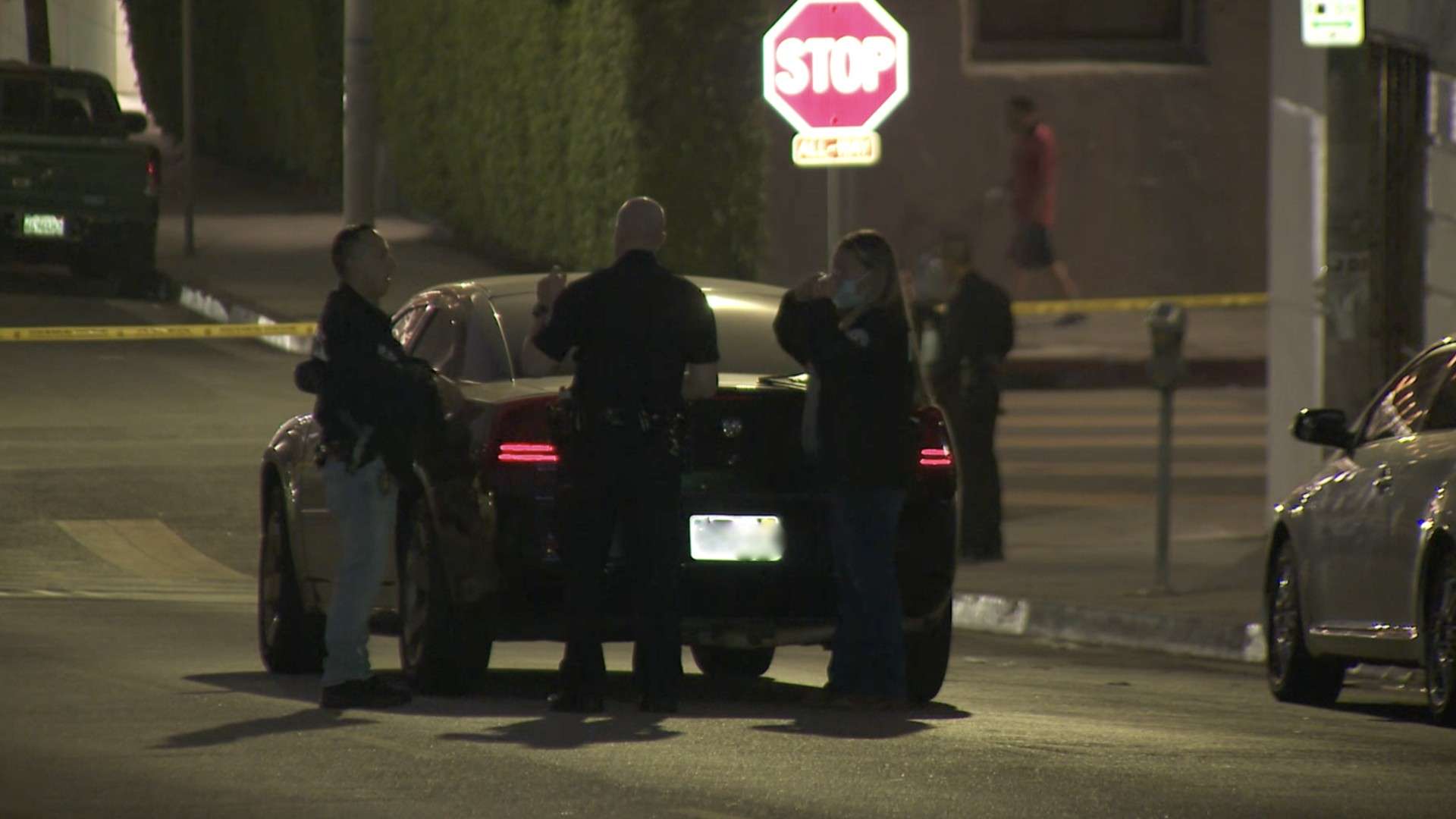 Police investigate a shooting in the Westlake neighborhood on Sept. 21, 2020. (KTLA)