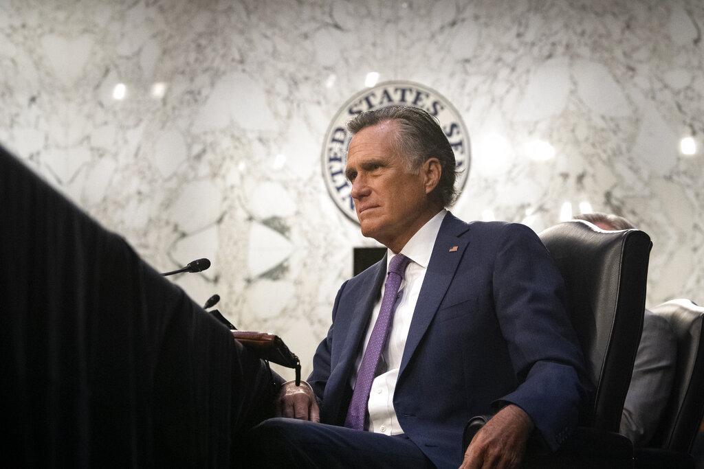 Sen. Mitt Romney, R-Utah, listens during a Senate Health, Education, Labor, and Pensions committee hearing on Capitol Hill in Washington on Thursday, Feb. 25, 2021. (Caroline Brehman/Pool via AP)