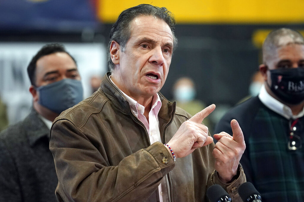 In this Feb. 22, 2021 file photo, New York Gov. Andrew Cuomo speaks during a news conference at a COVID-19 vaccination site in the Brooklyn borough of New York. (AP Photo/Seth Wenig, Pool, File)