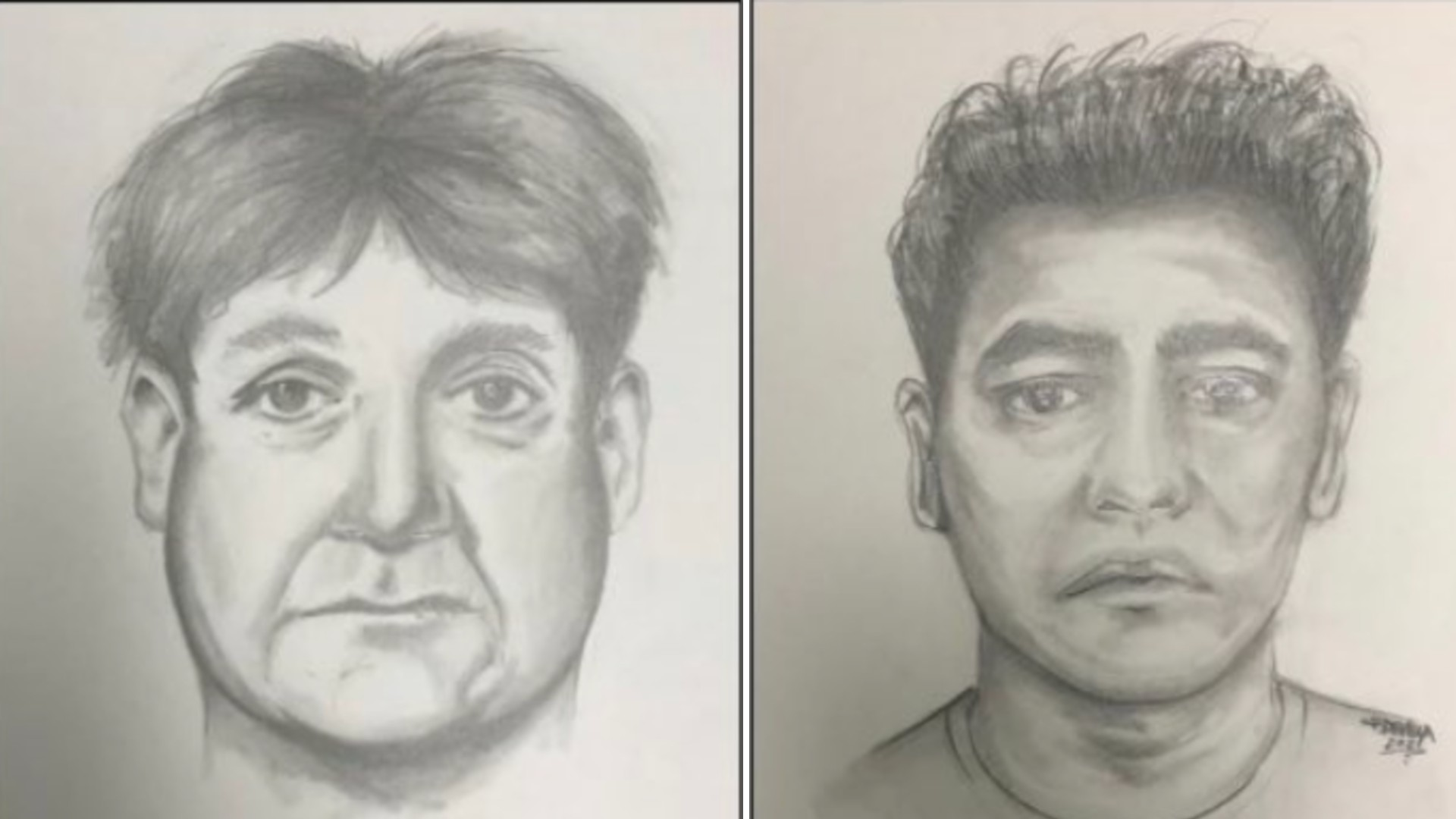 The Orange County Sheriff's Department released these sketches, seeking the public's help to identity the two men accused of following a 15-year-old girl in Rancho Santa Margarita on May 4, 2021. The driver of the vehicle is on the left and the passenger on the right.