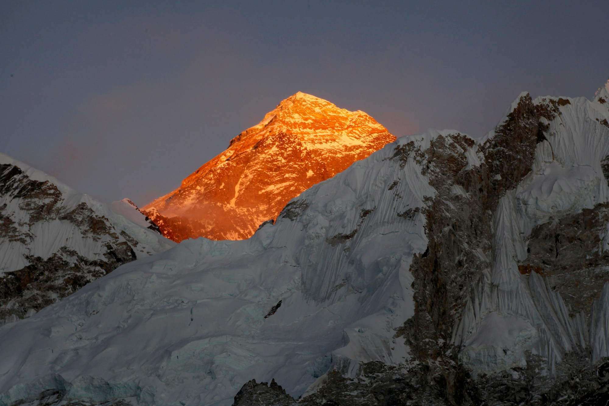 In this Nov. 12, 2015 file photo, Mt. Everest is seen from the way to Kalapatthar in Nepal. A Swiss climber and an American have died on Mount Everest in the season's first casualties on the world's highest mountain, expedition organizers said Thursday. (AP Photo/Tashi Sherpa, File)