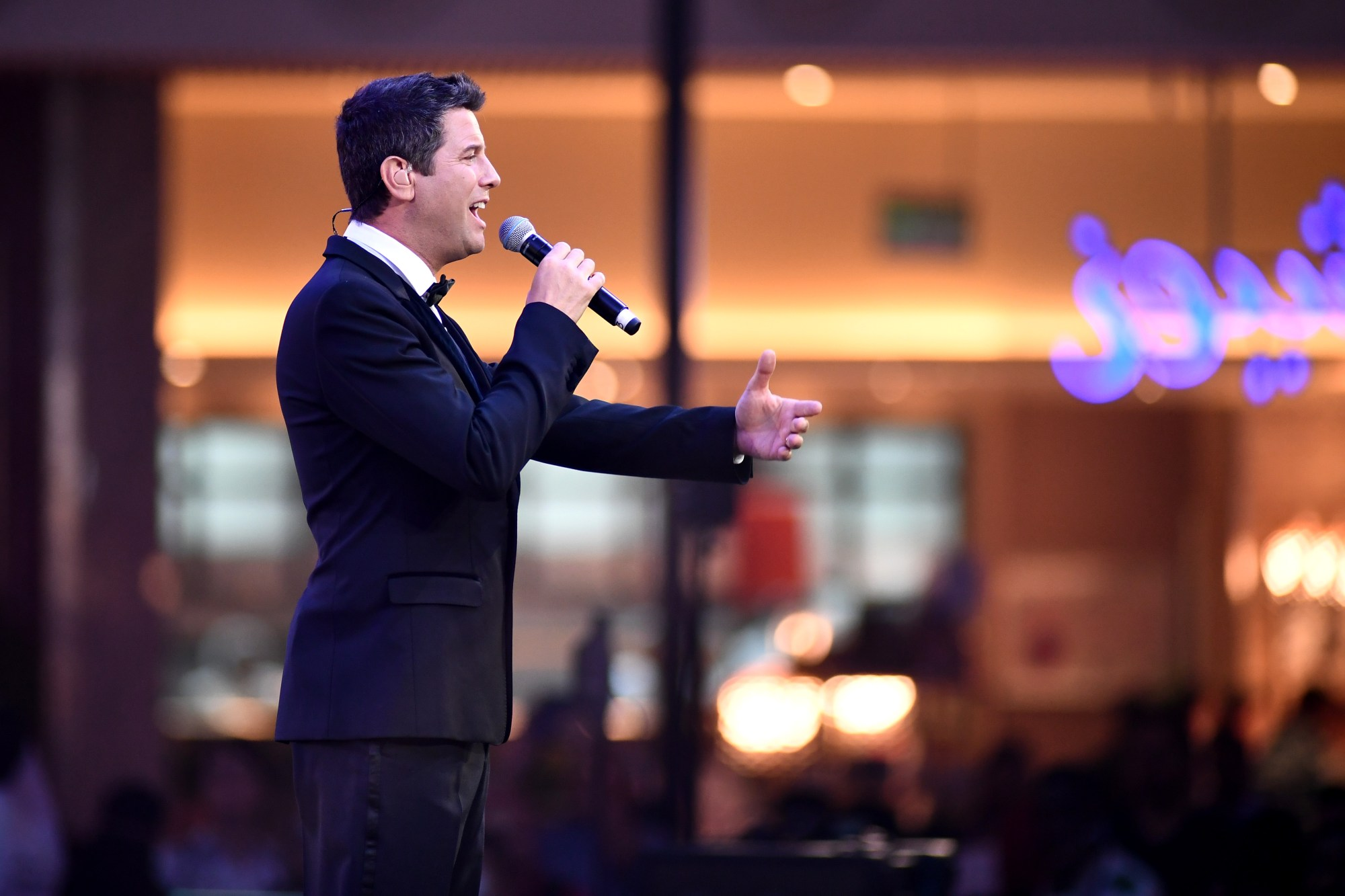 Sebastien Izambard of Il Divo performs during the Grand Opening of The Mall of Qatar at Mall of Qatar on April 8, 2017, in Doha, Qatar. (Ian Gavan/Getty Images for Mall of Qatar)