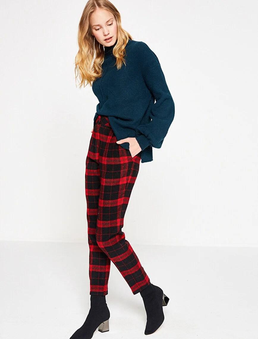 kırmızı ekose pantolon