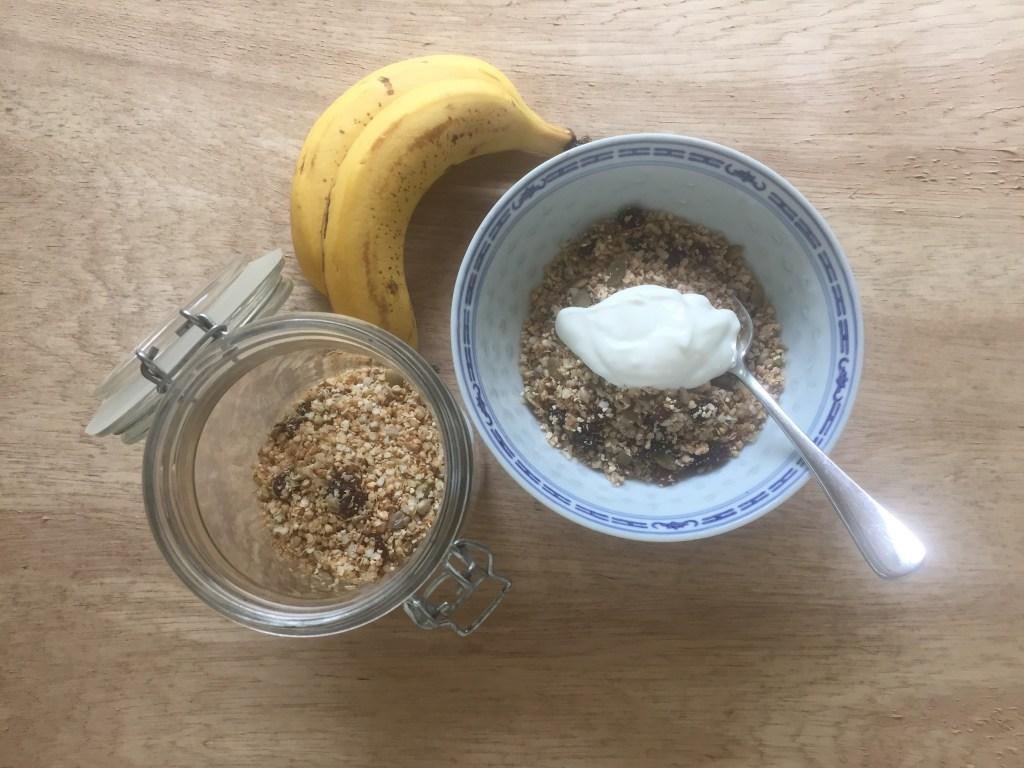 serve quinoa muesli with yoghurt and fruit, and maybe tahini too