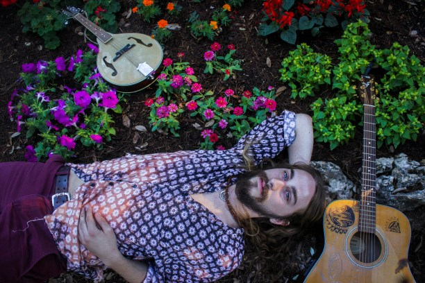 Foxmoor Express' lead singer laid down in the flowers at Mayfield Park.