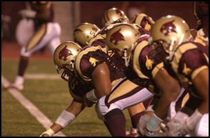 Texas State Football Defense Line. Photo courtesy of Texas State University.