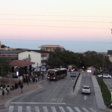 sunset at Texas State