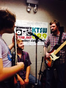 The Real Hands jamming out in the KTSW studio