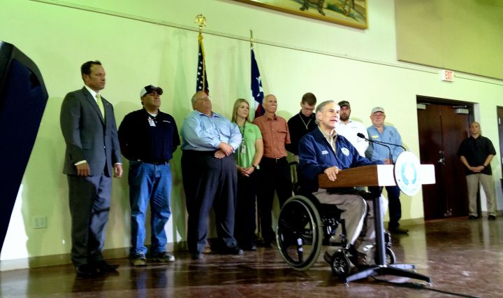 County, City and state officials stand behind Governor Greg Abbott