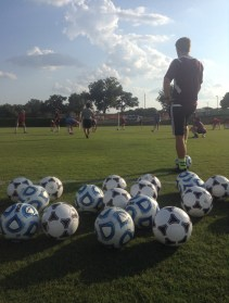 Soccer players at practice.