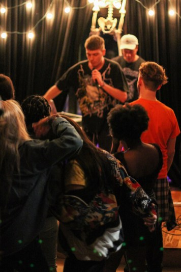 The crowd dances to Nat Plastic.