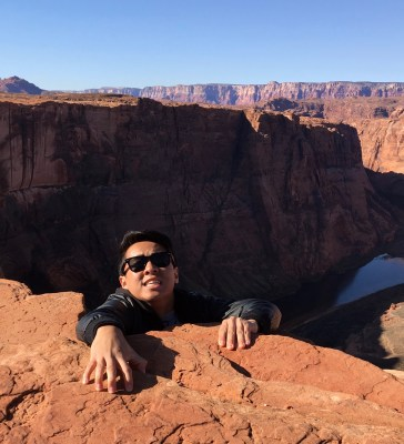 """""""Hanging out"""" at Horseshoe Bend in Page, AZ. Photo by Brent Ramirez."""