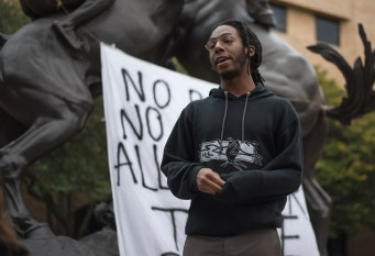Tafari Robertson, founder of Pan-African Action Committee and opinions columnist for the University Star, speaks at the March for Action Against Racism at TXST on Feb. 5