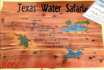 The wooden map detailing the various checkpoints racers must make it through to paddle 262 miles to the Gulf.