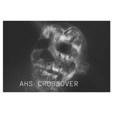 A skull with the words AHS (American Horror Story) crossover.