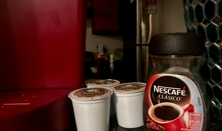 Keurig cups and instant coffee.