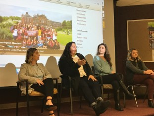 Four texas state students acting as panelists