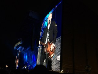 Sir Paul McCartney is displayed on a large screen at ACL