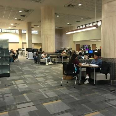 Students sitting in Alkek Library