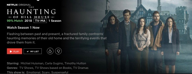 The title insert for Netflix's new show, The Haunting of Hill House. Five siblings (two boys and three girls) stand in front of a house.