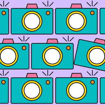 The image features a purple background with multiple drawings of teal colored cameras arranged in three horizontal rows. In the second row, there is a third camera that is slightly tilted.