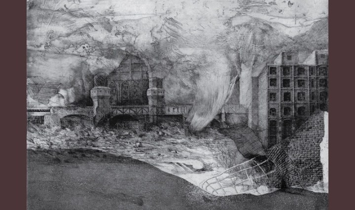 The album cover is a black and white sketched background of buildings and distorted landscape surrounded by a maroon trim.