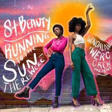 St.Beauty stands in the center on the EP cover in front of a brick wall their bodies shadowed by a outline of neon pink and a yellow circle imitating the sun is drawn on the brick wall behind their heads.