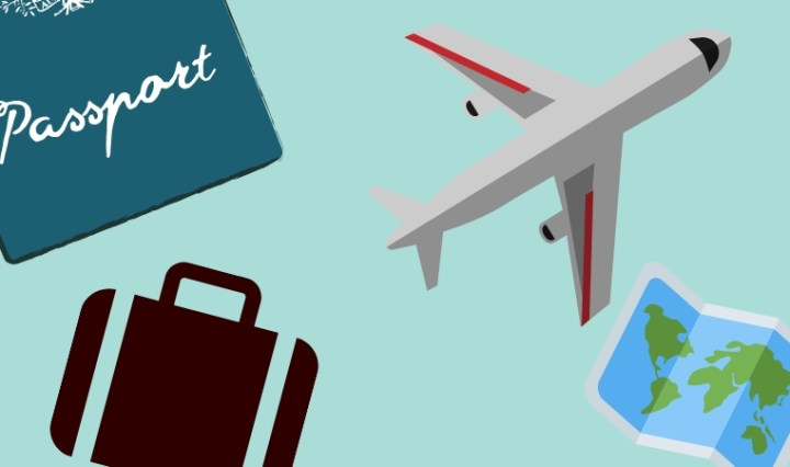 A suitcase, passport, airplane, and ticket on a pale blue background