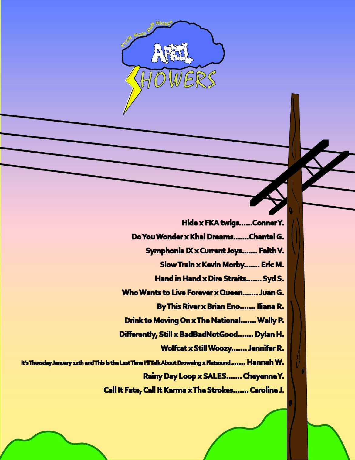 A sunset scene with a storm cloud at the top, an electrical pole with wires on the right and a list of the names and songs.