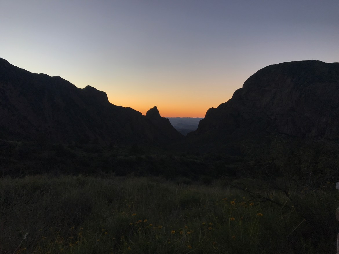 sunset between two mountains with dandelions in forefront