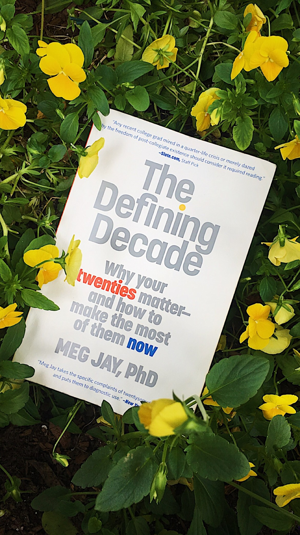 """A copy of """"The Defining Decade"""" by Dr. Meg Jay laid on top of yellow flowers."""