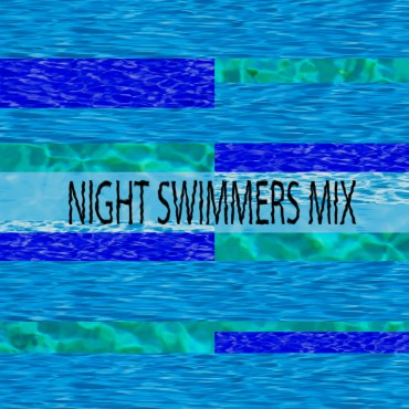 """The header photo is the text """"Night Swimmers"""" on top of different blue hues of reflected water."""