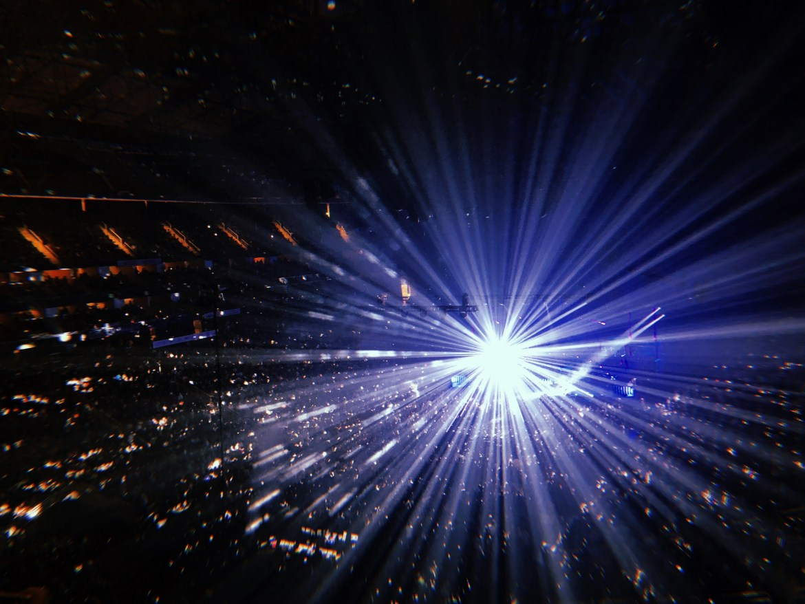 """A disco ball spun above the stage during one of their famed songs from the '80s, """"I Want To Break Free."""""""