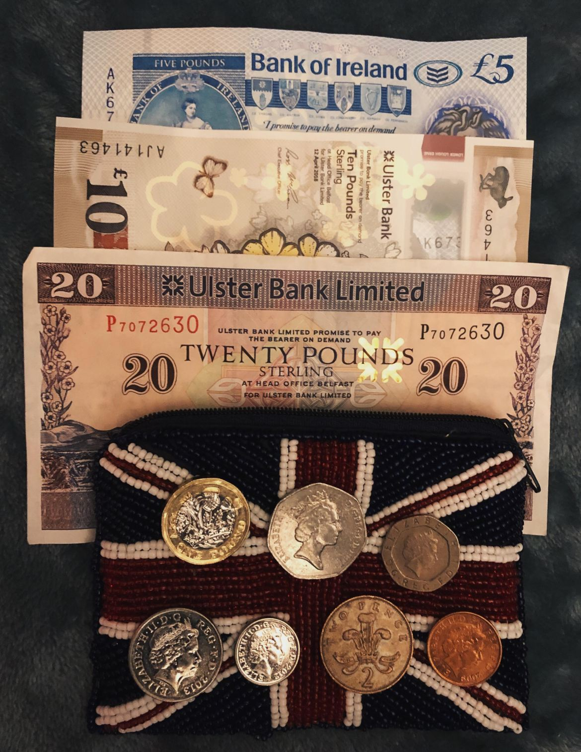 Northern Irish banknotes and coins.