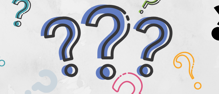 White background with question marks of varying colors on it.
