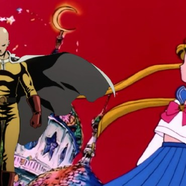 A cut out of Saitama from the One Punch Man intro is in his yellow spandex costume while standing next to Usagi in her white shirt and blue skirt school uniform.