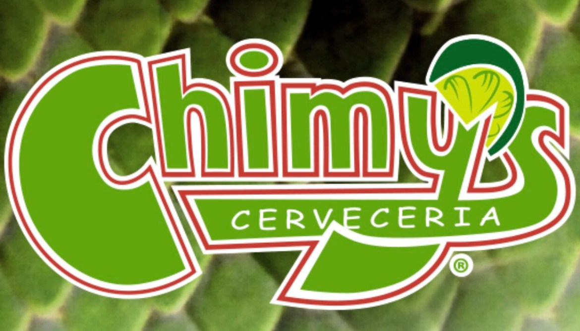 The Chimy's logo in green, white and red lettering with a lime on a green background