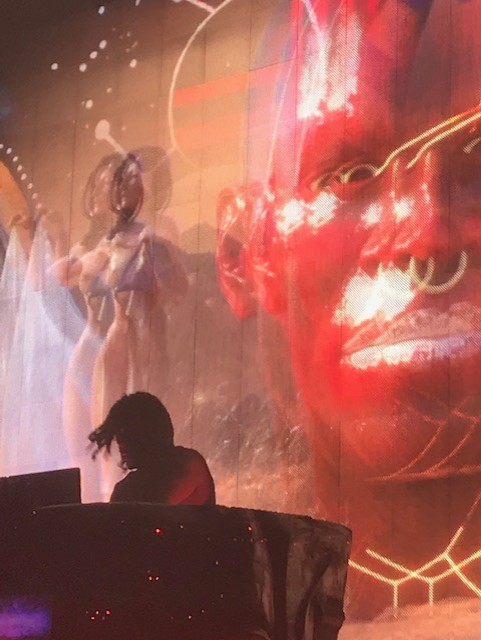 Enthralled producer Steven Ellison throws himself into his music onstage, illuminated by 3D, psychedelic visuals.
