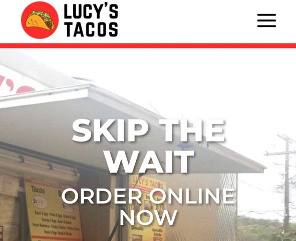 """Lucy's Tacos logo and """"skip the line/order online now"""" in front of a picture of the food truck"""