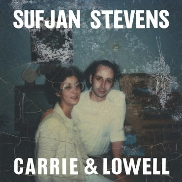 """A couple standing next to each other in a dark room with grainy and scratched filter over it, with the words """"Sufjan Stevens"""" and """"Carrie & Lowell"""" on it."""