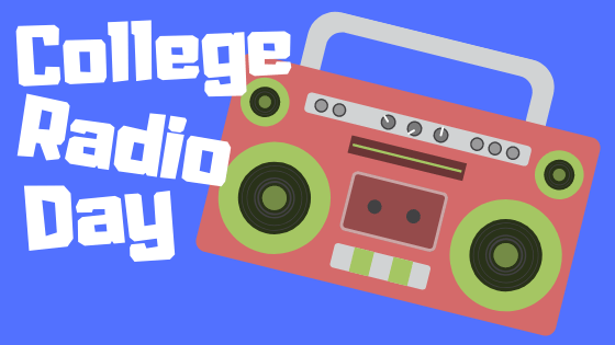 """A graphic of a red and green radio with white words that read """"College Radio Day"""""""