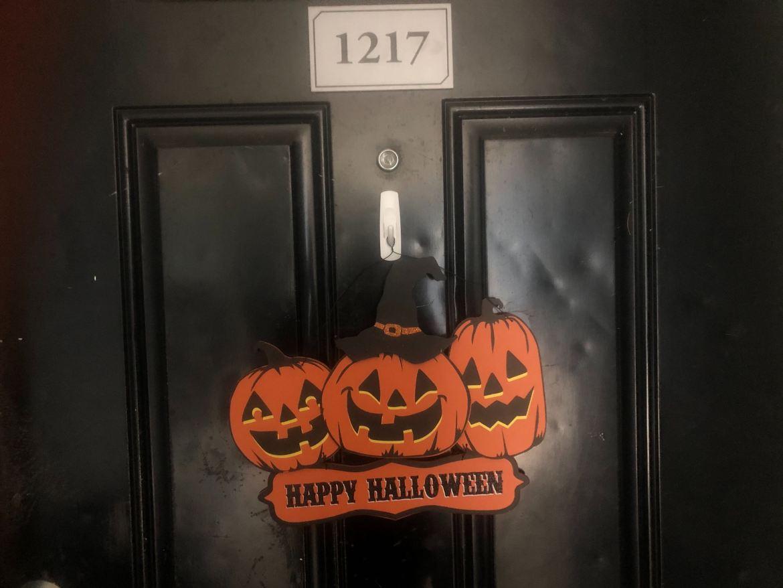 Door, Pumpkins, Halloween, Happy, Sign, Decorations
