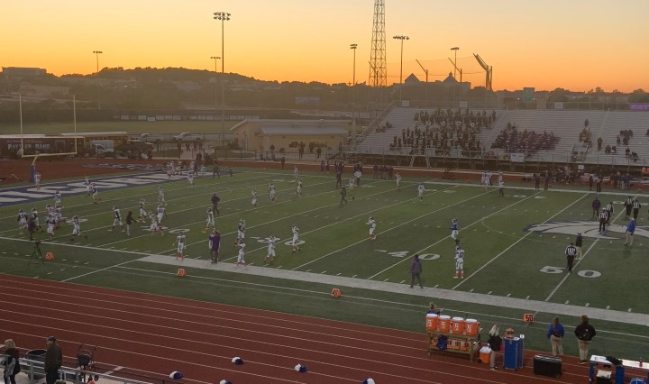 The rattlers are in their white uniforms as they prepare for their matchup against New Braunfels who are in the blue jerseys.