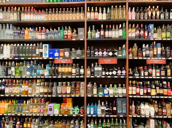 Shelves of tequila, gin and rum