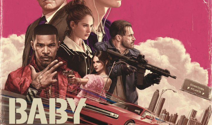 Album artwork for the film Baby Driver's soundtrack featuring actors Ansel Elgort, Lily James, Jon Hamm, Eiza Gonzalez, Jamie Foxx, and Kevin Spacey.