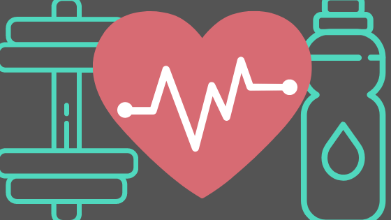 Turquoise Dumbell weight (left) and water bottle (right) symbols in front of a grey background with a pink heart in the middle with a heart monitor line in the middle of the heart.