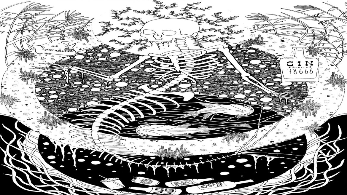 An illustration of a mermaid skeleton with bottles and plant life.