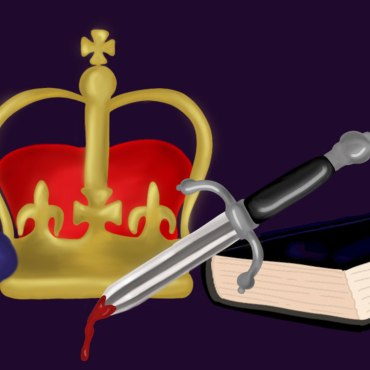 The cover art features a violet, a bloody dagger, a crown and a blue-black book all over a deep purple background.