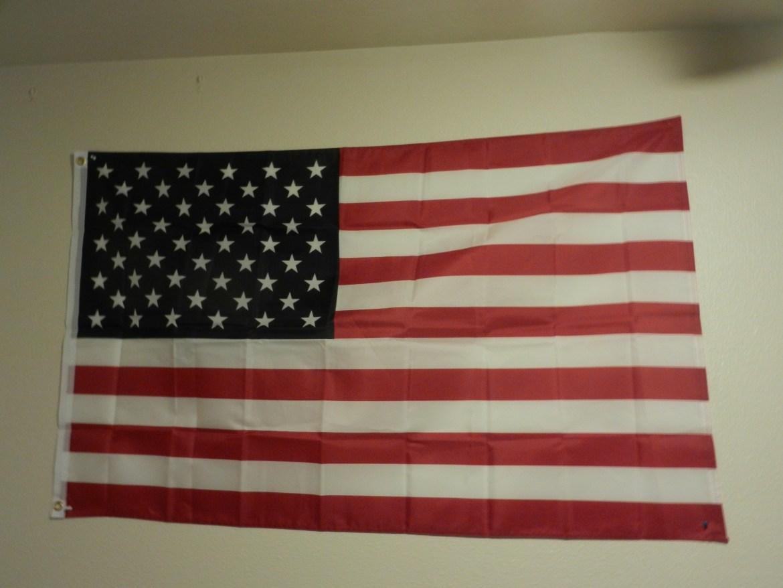 An American flag on display